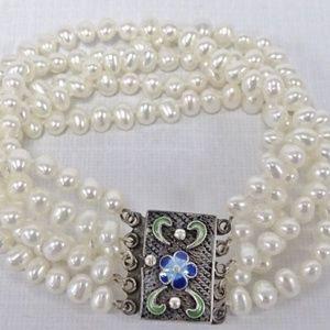 Vintage 925 Silver Multi Strand Enamel Bracelet
